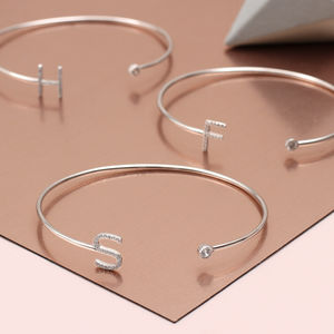 Pave Crystal And Sterling Silver Initial Open Bangle - gifts for friends