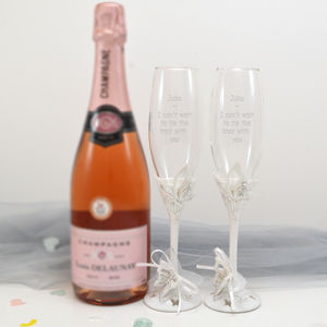 Personalised Butterfly Champagne Glasses In Gift Box