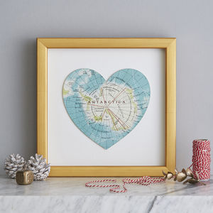 Personalised Location Antarctica Map Heart Print - what's new