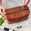 Personal Message Leather Luxe Wash Bag