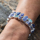 Tanzanite And Aquamarine Gemstone Chunky Bracelet