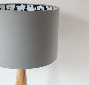 Monochrome In Crowd Lined Grey Lampshade