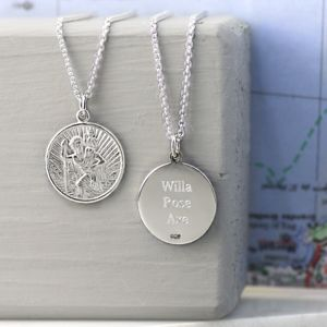 Personalised St Christopher Necklace - men's jewellery