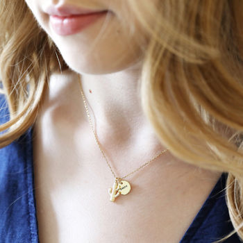 Personalised Gold Cactus Necklace