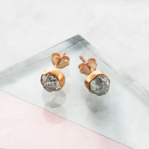 Rose Gold Birthstone Rough Diamond Stud Earrings