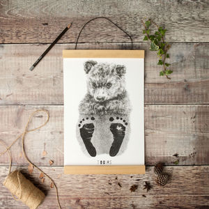 Personalised Baby Bear Footprint Kit - posters & prints for children