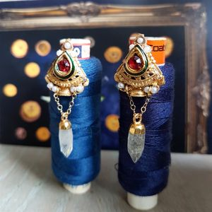 Golden Gemstone Earrings - earrings