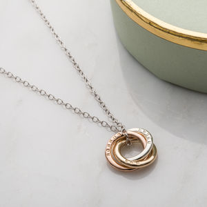 Personalised 9ct Mixed Gold Mini Russian Ring Necklace - gold