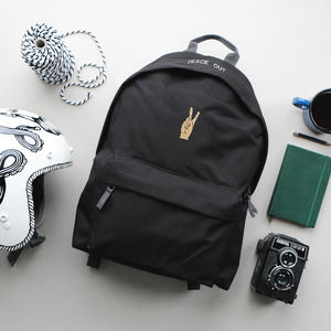 'Peace Out' Black Backpack - 21st birthday gifts
