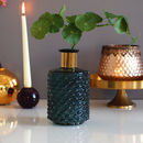 Blue And Gold Dimpled Textured Glass Vase