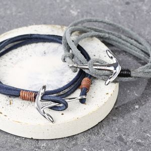 Men's Personalised Cord Wrap Bracelet With Anchor