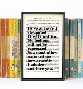Pride And Prejudice 'In Vain…' Wedding Gift Book Print - book-lover