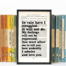 Pride And Prejudice 'In Vain…' Wedding Gift Book Print