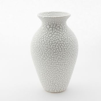 Stoneware Vase In Textured White And Grey Bead Glaze