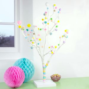 Pastel Pom Pom Easter Tree - easter decorations