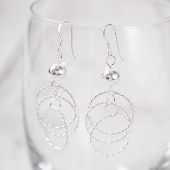 Ball And Entwined Circles Silver Earrings