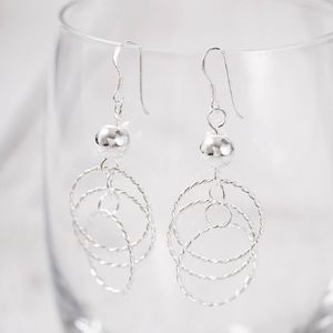 Ball And Entwined Circles Silver Earrings - jewellery sale