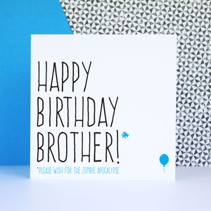 'Happy Birthday Brother' Zombie Card