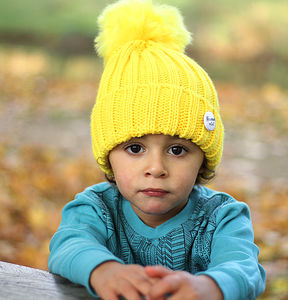 Yellow Beanie Hat With Removable Faux Fur Pom Pom