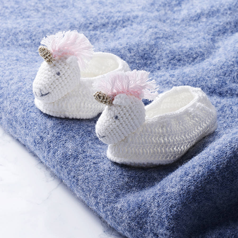 Unicorn gifts and presents notonthehighstreet crochet unicorn baby booties negle Image collections