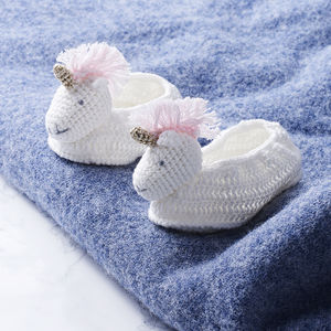 Crochet Unicorn Baby Booties In Gift Box - shoes & footwear