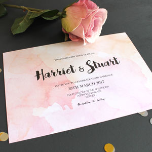 Watercolour Calligraphy Wedding Invitation