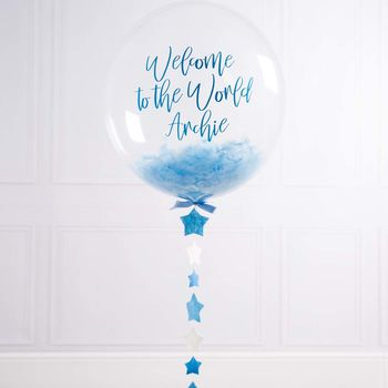 Personalised New Baby Feather Bubble Balloon