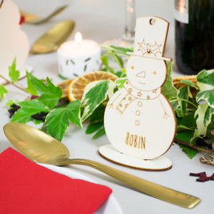 Personalised Snowmen Place Setting Decorations