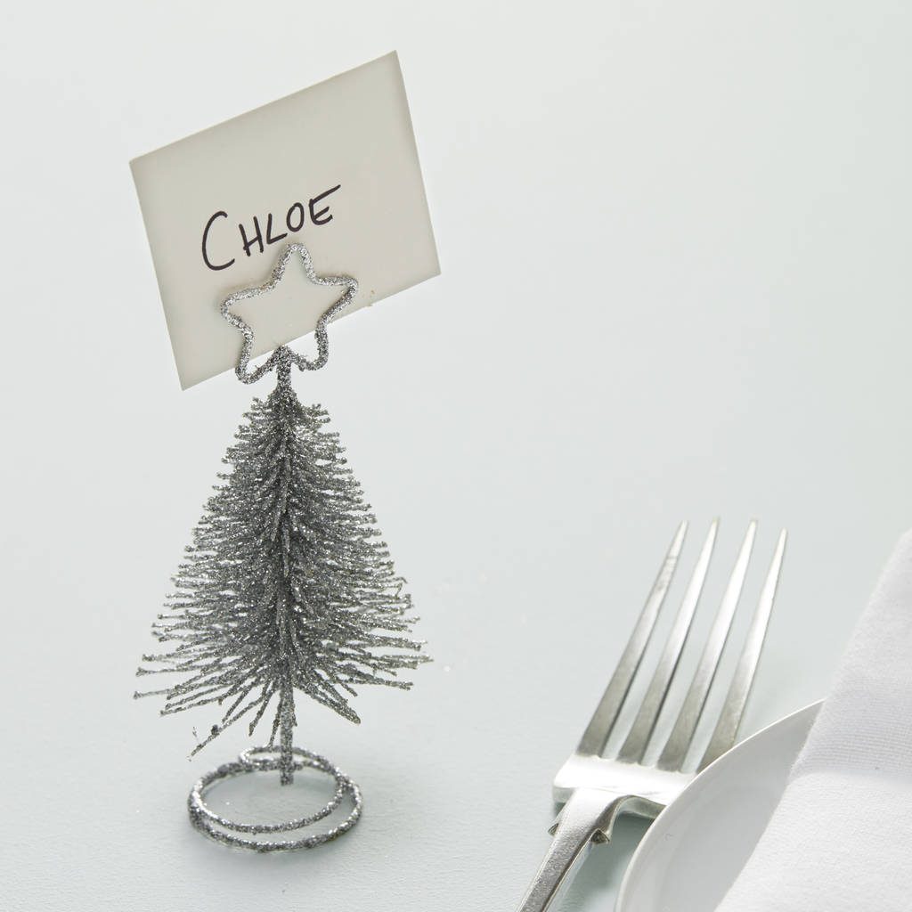 Metal Tabletop Christmas Tree: Silver Metal Christmas Tree Shaped Place Card Hold By