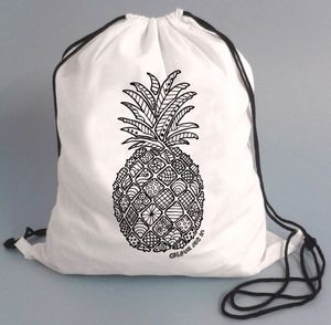 Drawstring Cotton Bag To Colour In