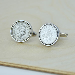 Five Pence 18th 1998 Birthday Coin Cufflinks - cufflinks