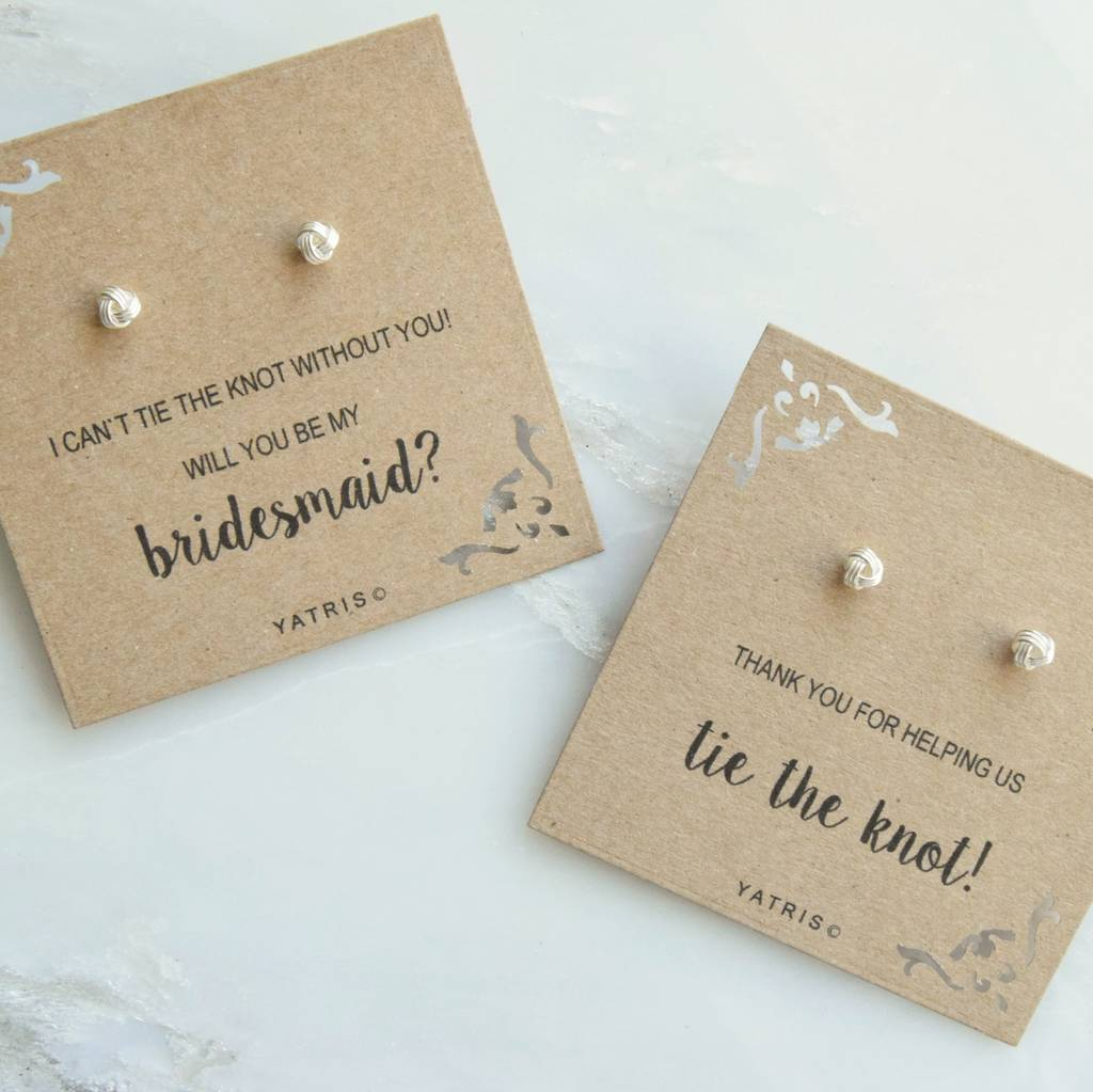 tie the knot bridesmaid silver earring gift box by yatris ...