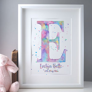 Personalised Hand Painted Watercolour Initial Print - children's room