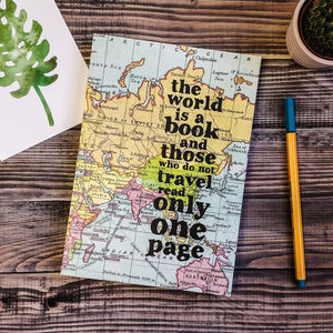 Inspirational 'The World Is A Book…' Travel Journal - stationery gifts