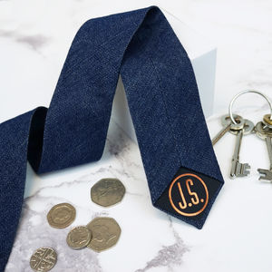 Personalised Monogram Men's Denim Tie - summer sale