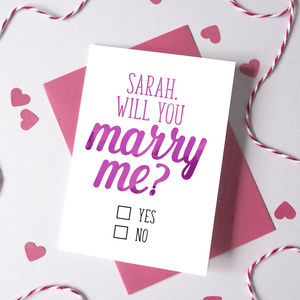 Personalised Will You Marry Me Checkbox Card - engagement cards