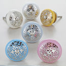 Silver Applique Round Nest Ceramic Door Knobs