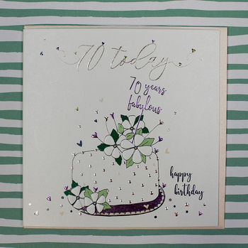 Seventieth Birthday Card Cake Theme