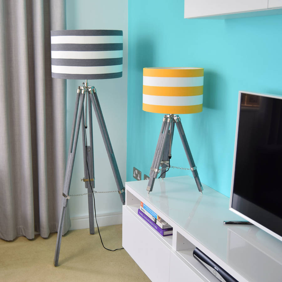 Grey Tripod Lamp Base With Choice Of Stripe Shade By Quirk