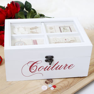 French White Wooden Couture Sewing Box