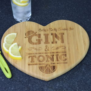 Gin And Tonic Personalised Chopping Board - chopping boards