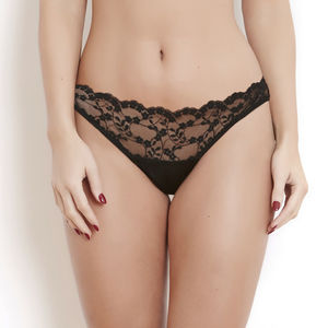 Black Silk And French Lace Sophia Knicker - lingerie & nightwear