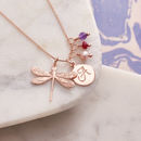 Rose Gold Dragonfly Necklace With Birthstones - Amethyst, Ruby and Pink Fresh Water Pearl Birthstones