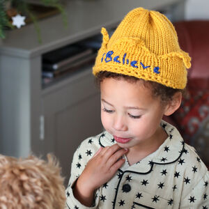 'I Believe' Knitted Crown Hat