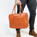 Personalised Tan Buffalo Leather Oxford Zip Up Satchel