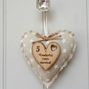 Wood Anniversary Oak And Fabric Message Heart - view all new