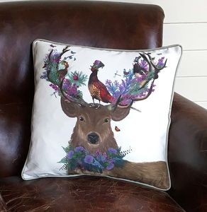 Scottish Woodland Deer Decorative Cushion - patterned cushions