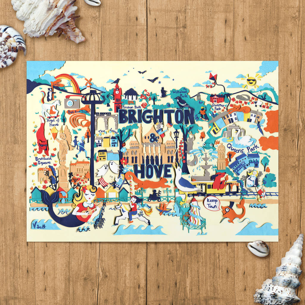 brighton map brighton print limited edition print by vickysworld