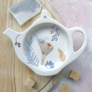 Bone China Teabag Tidy Wren Design - kitchen