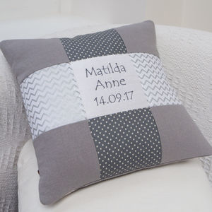 Silver Name And Date Cushion - children's cushions